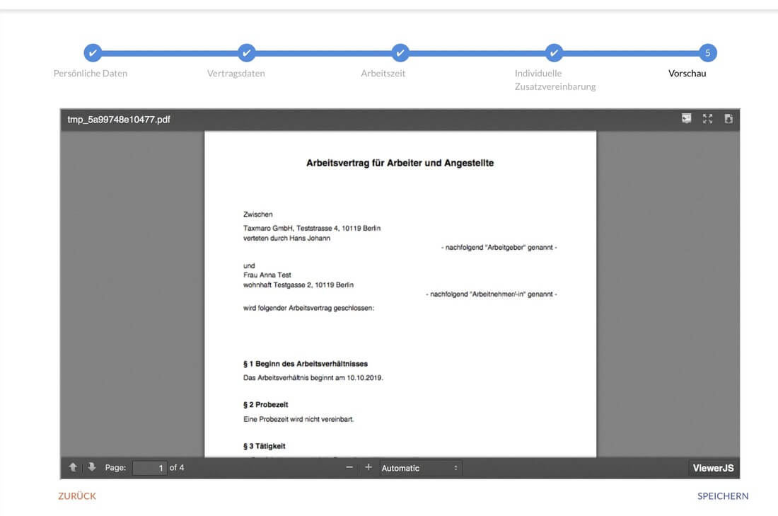 Die Taxmaro Arbeitsvertrag Darstellung auf dem Bildschirm im Bild