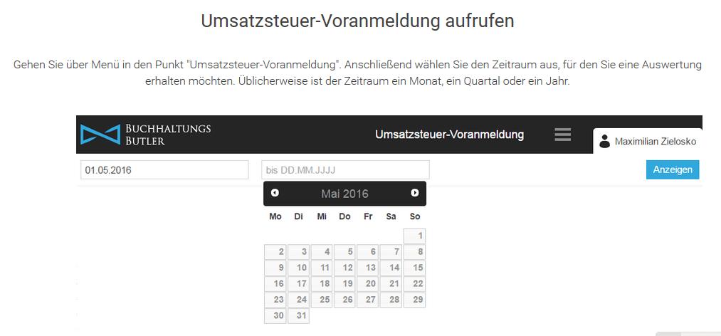 BuchhaltungsButler - Screenshot der Seite