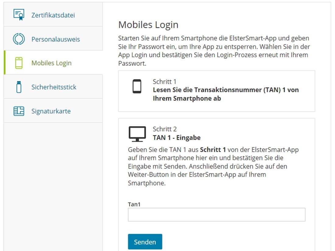 Verschiedene Möglichkeiten zum Login-In in das Elster-Portal. Quelle: Screenshot der Elster-Website