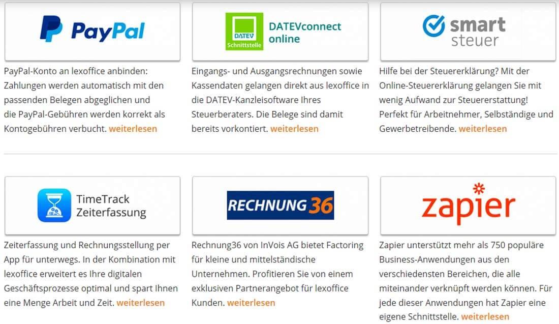 Partneranwendungen bei lexoffice. Bild: Screenshot Webseite lexoffice