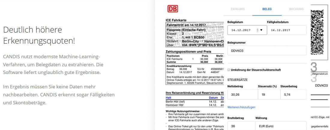 Eine Rechnung, die vom Buchhaltungsprogramm eingelesen wird. Bild: Screenshot Webseite CANDIS