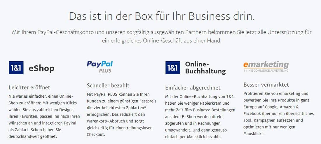 """Die Angebote von PayPals """"Business in a Box"""" in Übersicht. Bild: Screenshot Webseite PayPal"""