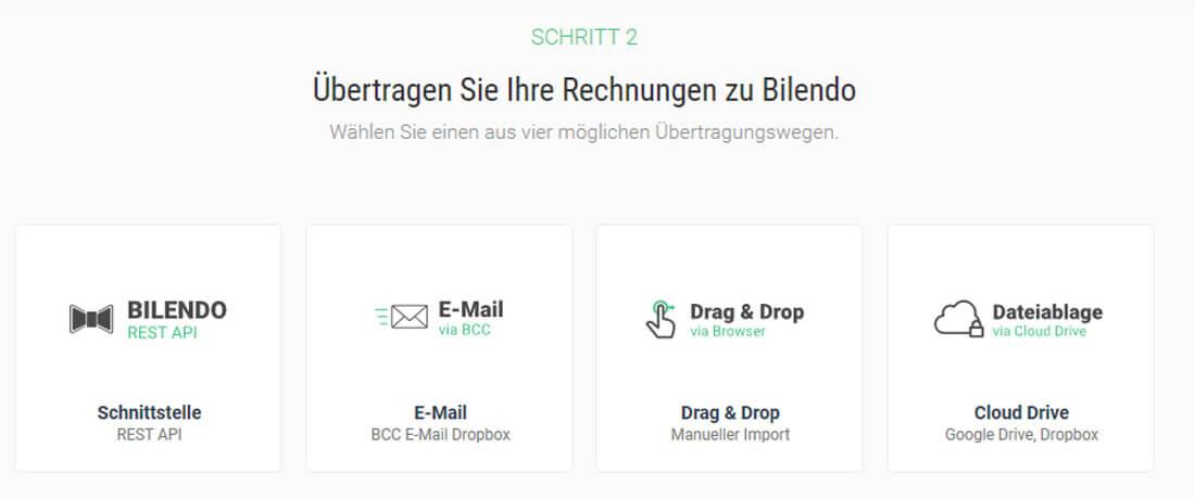 Rechnungen zu Bilendo übertragen. Bild: Screenshot Webseite Bilendo