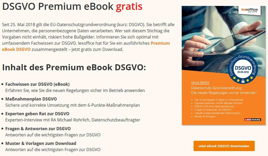 Die lexoffice-Webseite mit eBook zur Datenschutzgesetzverordnung zum herunterladen. Bild: Screenshot Webseite lexoffice