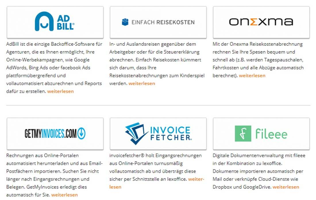 Partner-Programme von lexoffice. Bild: Screenshot Webseite lexoffice