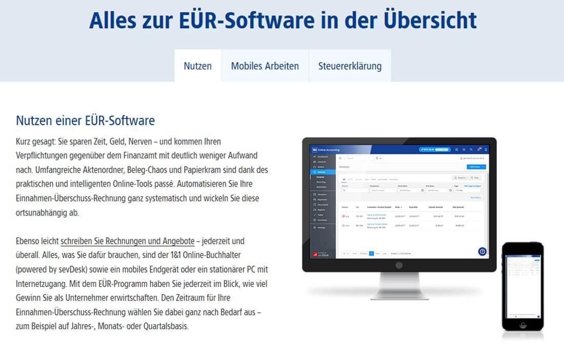 Bildschirm und Handy mit EÜR-Software von 1&1 Buchhaltung online.