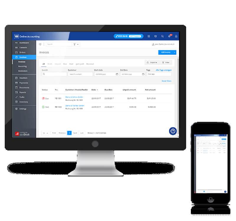 Ein Desktopcomputer und ein Smartphone zeigen den gleichen Screen mit Buchhaltung bei 1&1 Buchhaltung online