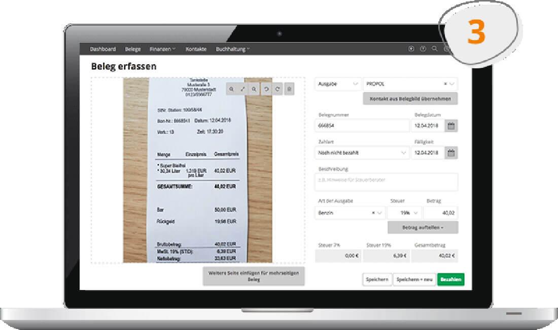 Fotografierter Beleg auf einem Screen in der Buchhaltungssoftwar