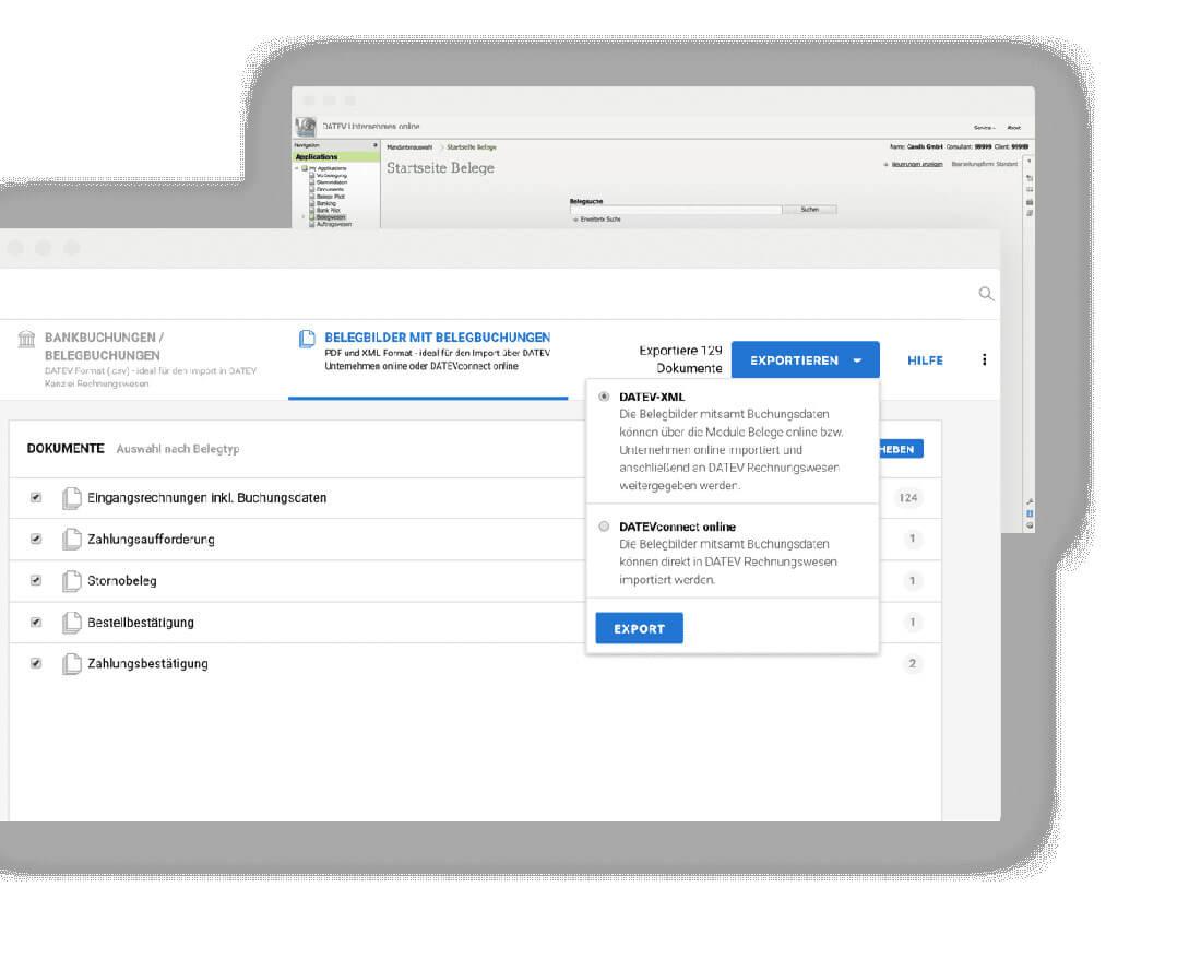 Screenshot der CANDIS-Buchhaltungssoftware beim Daten-Export.