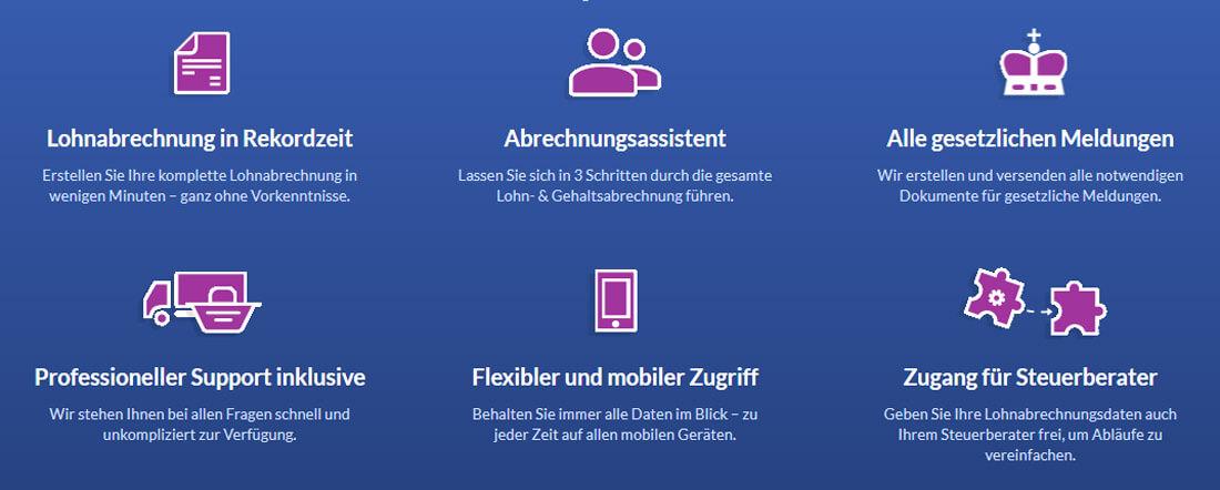Webseite von SageBusinessCloud mit Features der Lohnabrechnung