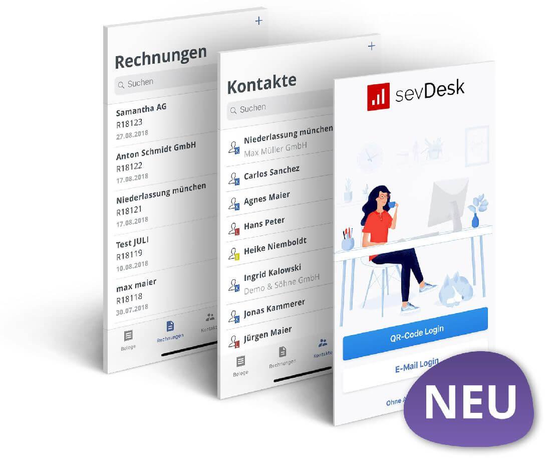 Screenshot der sevDesk-App für Buchhaltung per Smartphone