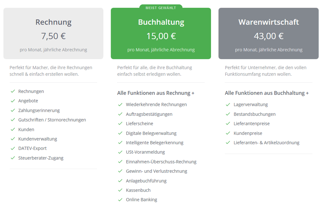 Screenshot der Webseite sevDesk mit tabellarischer Preisübersicht zu den Online-Buchhaltungsprogrammen